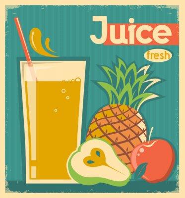 Quadro carta juice.Vector epoca frutta fresca