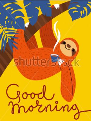 Quadro Carta vettoriale con simpatico personaggio bradipo e tazza di caffè. Poster di Buongiorno.