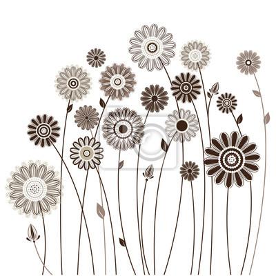 Carte floreali, bouquet di fiori stilizzati dipinti da parete ...