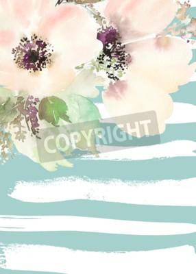 Quadro Cartolina d'auguri con i fiori. Colori pastello. Fatto a mano. Pittura ad acquerello. Matrimonio, compleanno, festa della mamma. Doccia nuziale.