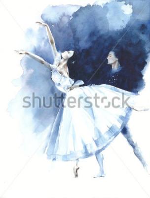 Quadro Cartolina d'auguri dell'utilizzo della pittura dell'acquerello di Giselle del ballerino di ballo della ballerina