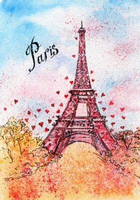 Quadro cartolina d'epoca. acquarello illustrazione. Parigi, Francia, Torre Eiffel