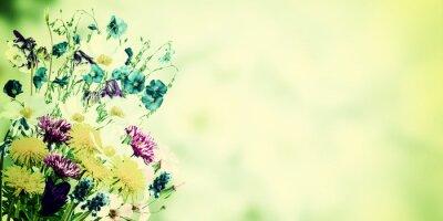 Quadro Cartolina dell'annata con i fiori selvatici