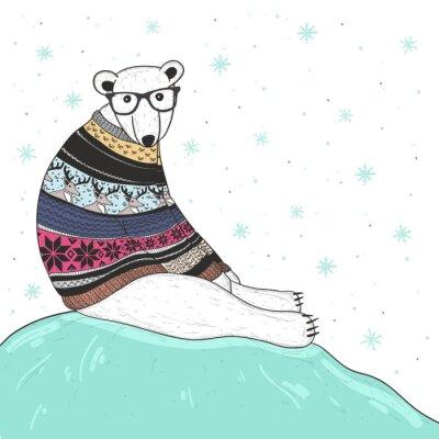 Quadro Cartolina di Natale con cute hipster, orso polare. Orso con fair isle
