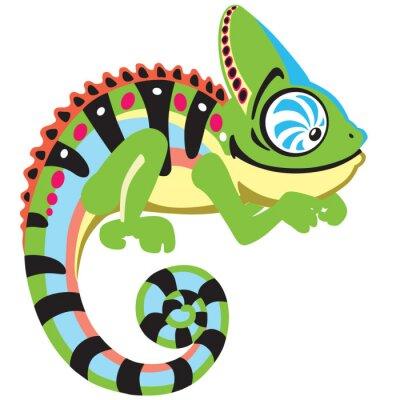 Quadro cartone animato camaleonte lucertola. Vista laterale isolato su bianco