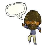 Uomo hippie di cartone animato con sacchetto di erba con nuvoletta