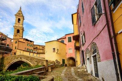 Quadro Case colorate nel centro storico di Dolcedo, Liguria, Italia