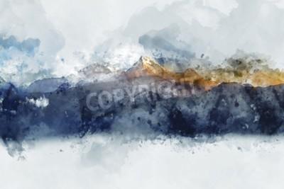 Quadro Catene montuose astratte nella luce del mattino, pittura ad acquerello digitale