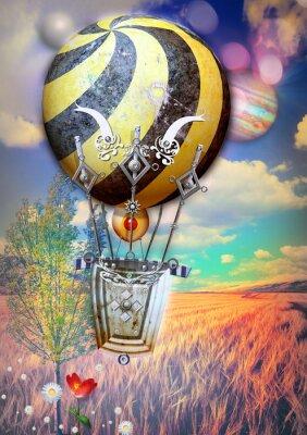 Quadro cato di mais e l'albero con steampunk mongolfiera