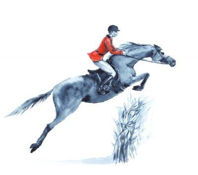 Quadro cavaliere e cavallo Acquerello, saltando un ostacolo nella foresta su bianco. Cavaliere in giacca rossa a saltare la concorrenza siepi. Inghilterra sport equestre. disegno a mano illustrazione.
