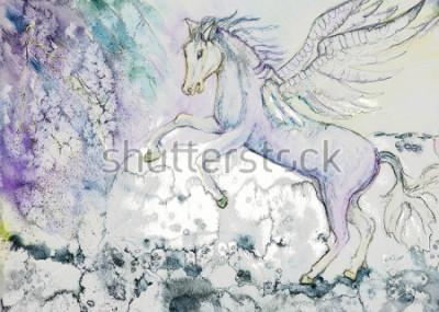 Quadro Cavallo con le ali in tempo tempestoso. La tecnica di tamponatura vicino ai bordi conferisce ed effetto di messa a fuoco morbida a causa della rugosità della carta alterata.