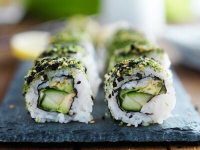 Quadro cavolo, avocado e cetrioli sushi