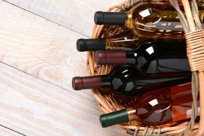 Quadro Cesto di bottiglie di vino