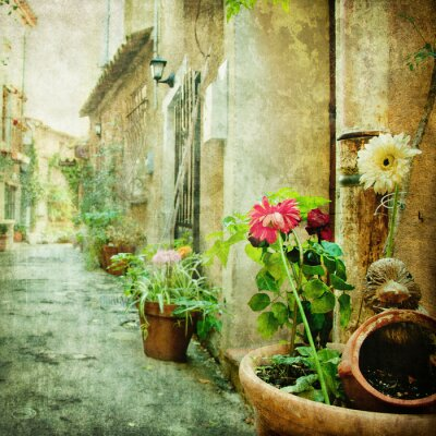 Quadro charming courtyards, retro styled picture