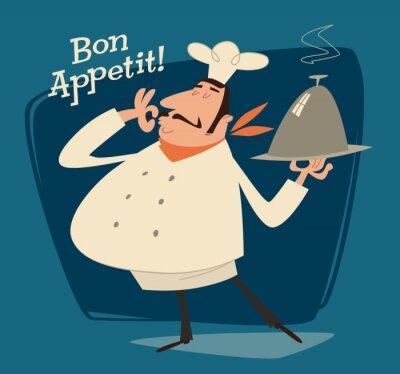 Quadro Chef del ristorante, illustrazione retrò