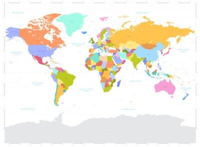 Quadro Ciao illustrazione dettagliata colorato vettoriale Political World Map
