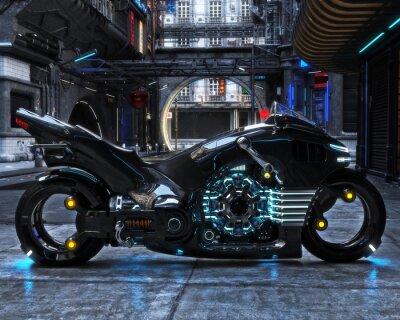 Quadro Ciclo luminoso futuristico sul display. Il motociclo è visualizzato con un rendering urbano futuristico background.3d