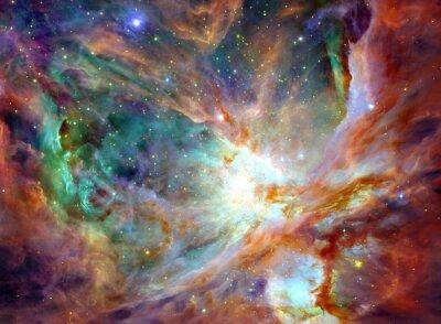 Quadro cielo notturno con le stelle di sfondo nuvole nebulosa. Colorful frattale vernice, si illumina in tema di arte, astratto, la creatività. Planet e Galaxy in uno spazio libero. Elementi di questa immagi