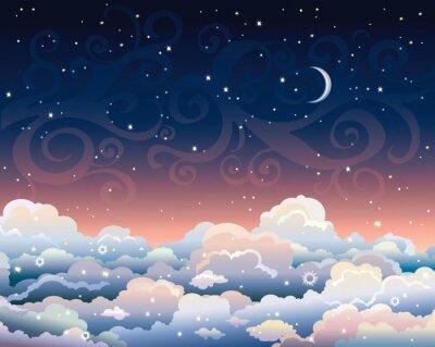 Quadro Cielo notturno con nuvole e luna.