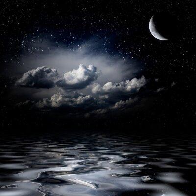 Quadro Cielo notturno stelle riflettono nel mare
