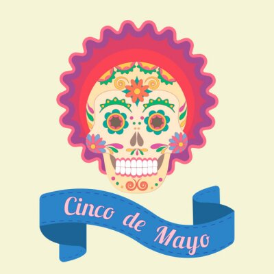 Quadro Cinco de Mayo, teschio dipinto in tradizioni nazionali del Messico