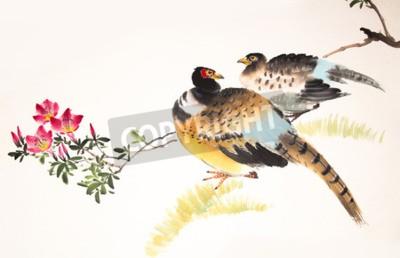 Quadro Cinese uccello pittura a inchiostro e impianti