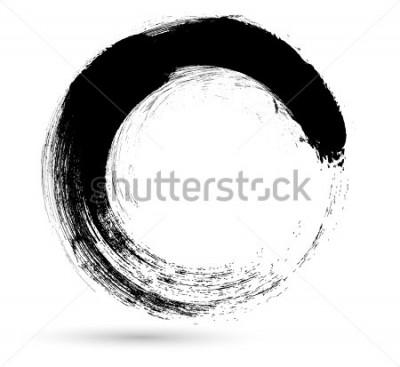 Quadro Circle Brush Stroke .Vector Logo Design Template. Volteggiare forme grunge.