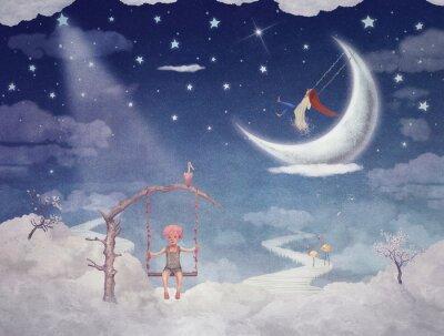 Quadro Città dei bambini sui fantastici nuvole nel cielo