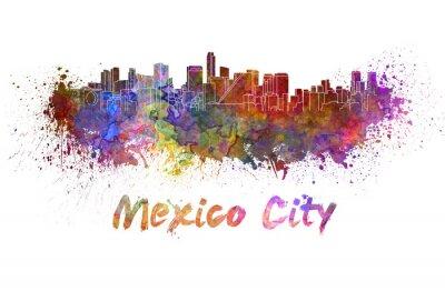 Quadro Città del Messico skyline in acquerello