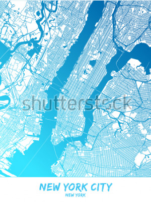 Quadro Città di New York e dintorni Mappa in versione ombreggiata blu con molti dettagli. Questa mappa di New York contiene punti di riferimento tipici con spazio per ulteriori informazioni.
