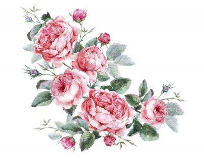 Quadro Classica Vintage biglietto di auguri floreali, bouquet di acquerello