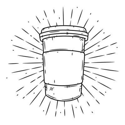 Quadro Coffee cup. Hand drawn vector illustration with coffee cup and divergent rays.