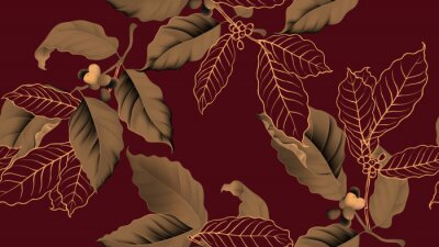 Quadro Coffee tree seamless pattern, branch of coffee tree in golden brown on dark red background, vintage style