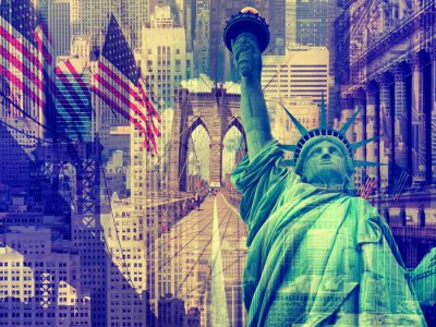 Quadro Collage contenente diversi punti di riferimento di New York