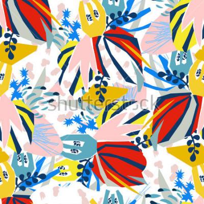 Quadro Collage di carta degli elementi floreali astratti Illustrazione di vettore disegnato a mano Schizzo pronto per il manifesto piano scandinavo contemporaneo di progettazione, invito, cartolina, progetta