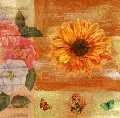 Quadro collage vintage con foglio di musica, farfalle, rose e Sunflow