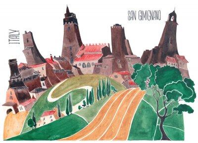 Quadro Colline toscane. Natura e architettura stilizzate dell'Italia. Un'illustrazione di un acquerello.