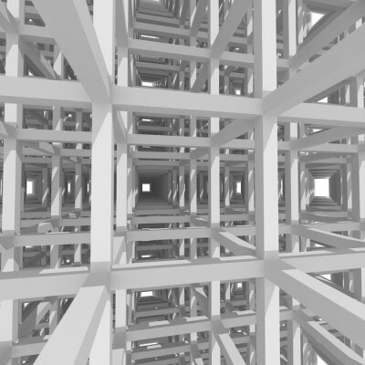 Quadro Colonne e travi 3d, architettura background.