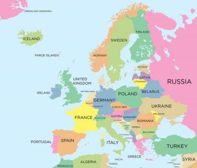 Quadro Colorata mappa politica d'Europa