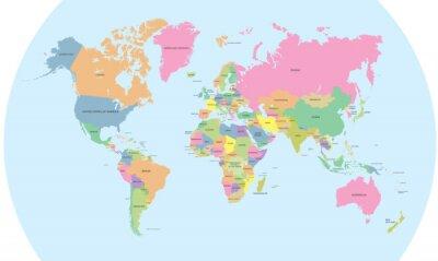 Quadro Colorata mappa politica del vettore mondo