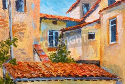 Quadro colorata pittura ad olio - i tetti delle case, strada europea, l'arte Impressionismo