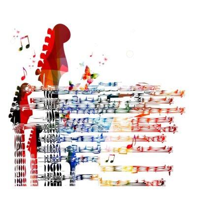 Quadro Colorato di musica per chitarra di sfondo. Vettore
