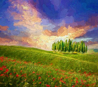 Quadro Colorful evening sunset with famous group of cypress tress and red poppy flowers on the rolling hills in summer time at Tuscany, Italy.- oil painting.