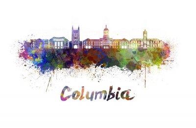 Quadro Columbia MO skyline in acquerello