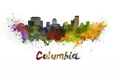 Quadro Columbia skyline in schizzi ad acquerello con tracciato di ritaglio