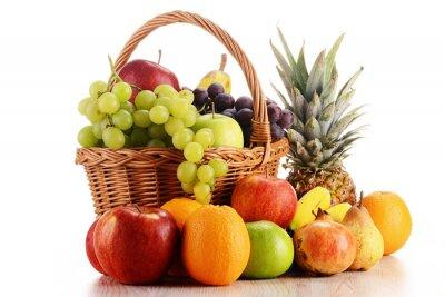 Quadro Composizione con frutta e cesto di vimini