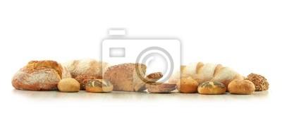 Quadro Composizione con pane e panini isolato su bianco