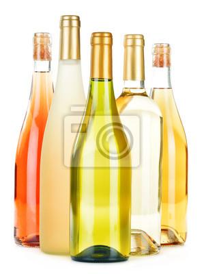 Quadro Composizione con varietà di bottiglie di vino isolato su bianco