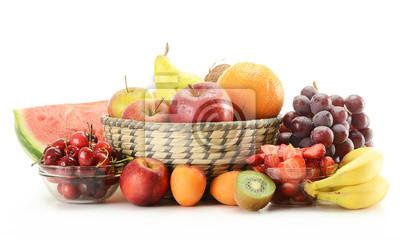 Quadro Composizione con varietà di frutta isolato su bianco