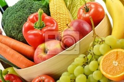 Quadro Composizione con verdure e frutta isolato su bianco